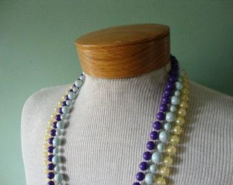 Vintage necklace Vintage jewelry Vintage costume jewelry Vintage 1980 necklace Vintage plastic bead necklace purple necklace yellow necklace