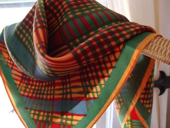 Vera Neumann madras neckerchief, vintage green red gold plaid scarf