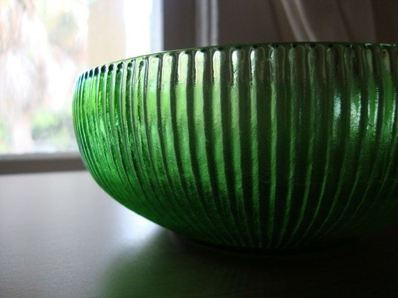 Vintage green glass EO Brody candy dish or bowl, retro home decor bright emerald green pantone color