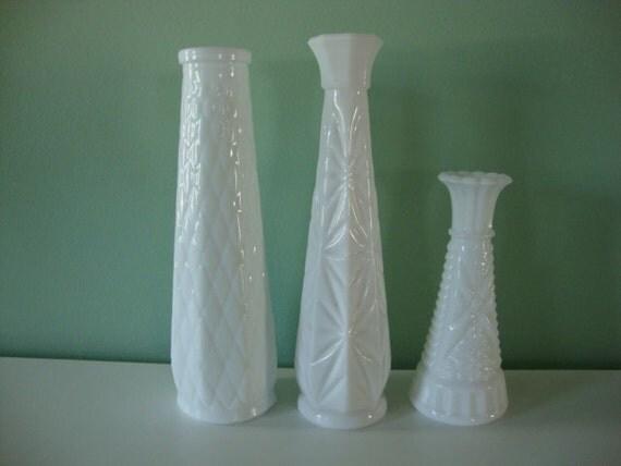 Set of 3 Milk Glass bud vases, mismatched set of white vintage vase decor