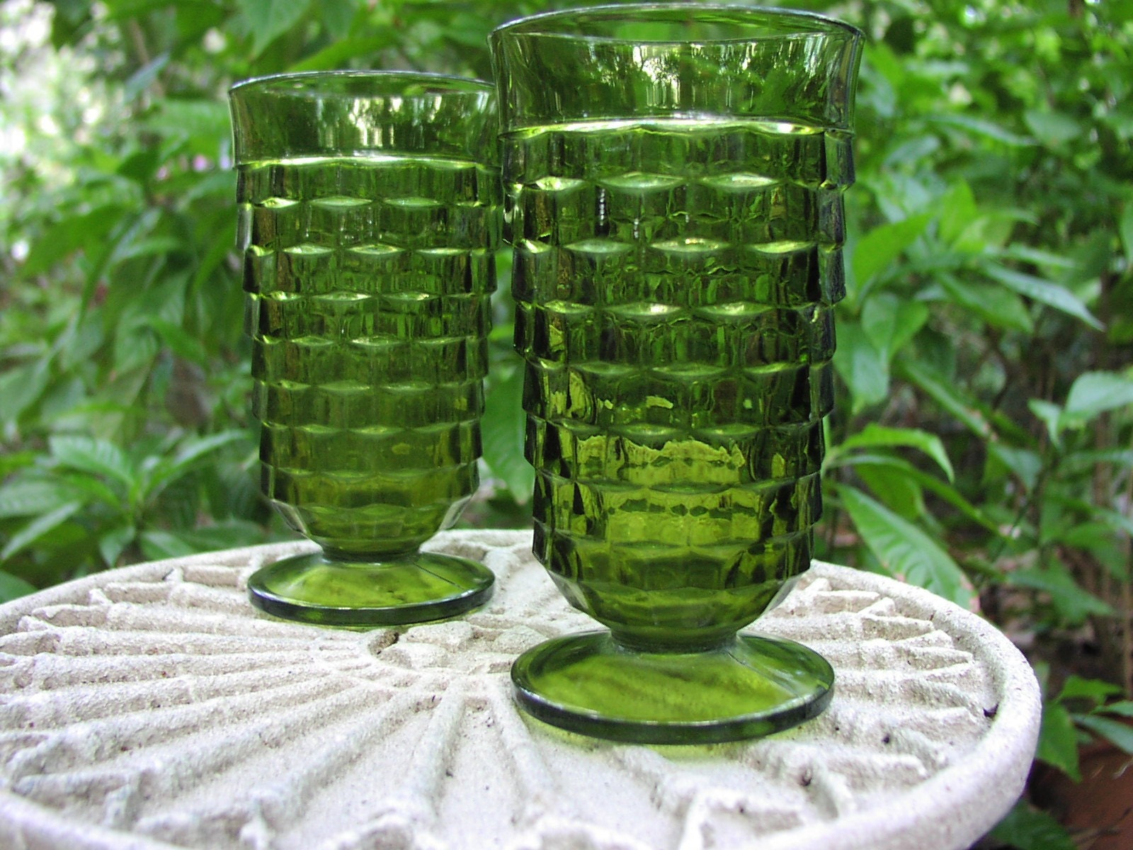 Vintage Green Pressed Glass Fostoria American Pattern Set Of