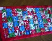Beautiful Hand-Made Quilted Christmas Table Runner - red binding