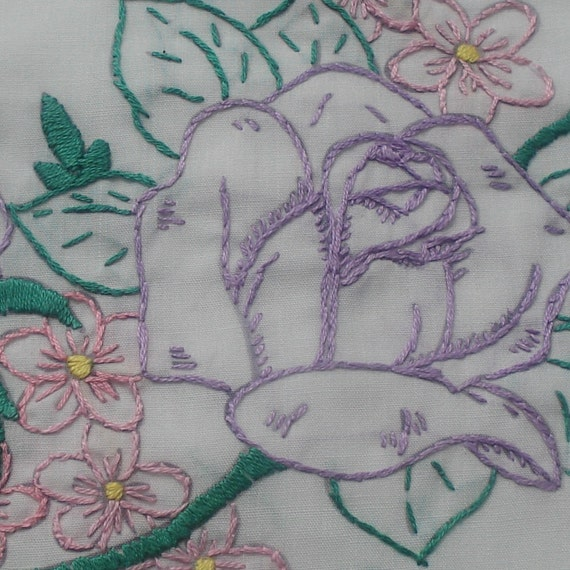 Sew Pretty Pillowcases - Bluebird and Purple Roses- Set of 2