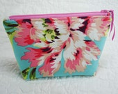 Back To School - Zippered Pouch - Cosmetic Bag -  Tech Accessories Bag - Amy Butler - Bliss Bouquet - Pink Teal Floral
