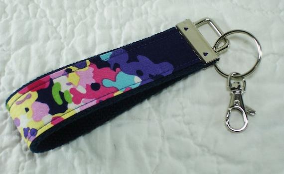 Key Fob, Keychain, Designer Keychain, Wristlet, Fabric Keychain, Amy Butler, Midnight Water Bouquet