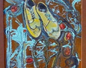 """Copper Painting Original """"Dancing With Daddy"""" 24""""X24"""""""