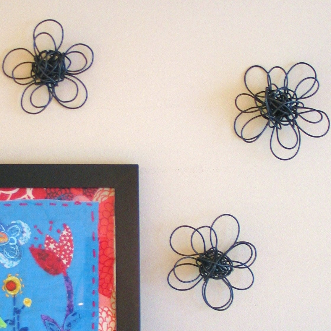 Wall Flowers Set of Three by birdfromawire on Etsy