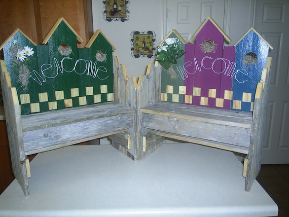 Wooden Birdhouse Benches By Oldswt On Etsy
