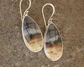 Picasso Jasper Stone and Sterling Silver Teardroped Shaped Dangle Artisan Earrings