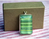 Small Resin Pendant - Green and Blue Stripes
