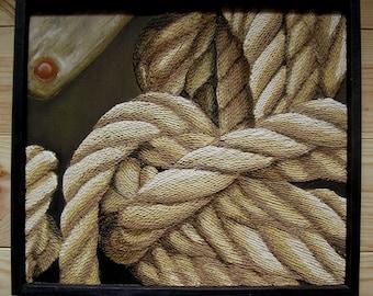 Ship's Rope Painting - Nautical Beach Decor String Art Original on Wood in Black Frame