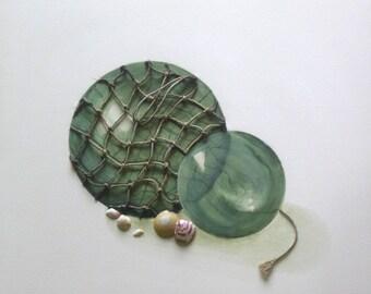 Glass Buoys Painting - Nautical Ocean Vintage Ship's Buoys & Seashells Beach House Decor