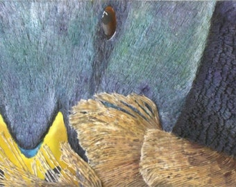 Duck Textured Painting - Mixed Media Original String Art Wall Decor - 50% SALE