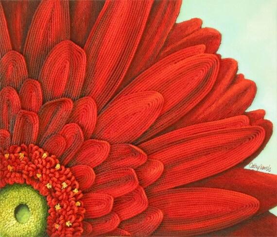 Gerbera Daisy Painting String Art Red 3d Flower Original Art