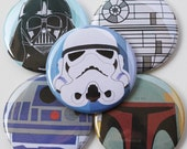 Star Wars button set - pinback button pack - sci-fi buttons - R2D2 - Boba Fett - Darth Vader -  Button Pack