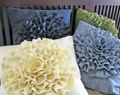 Wool Felt Rosette Pillow Cover - Finished - Your Choice of Color