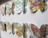 The Places we've Been  - 8 Butterflies -Customized Vintage Map Art