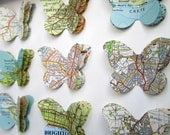 Our Travels - Custom Vintage Map Butterfly Art