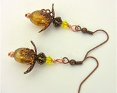 Yellow Earrings with Gold Brown Filagree-Unique Artisan Gift Inspired by the Honey Bee