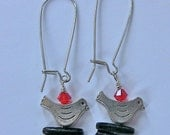 Bird Earrings Pewter with Red Swarovsk Crystal and Black Woodland Branch