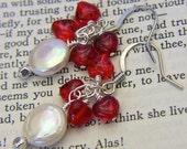 White Pearl Earrings, Heart Jewelry, Heart Earrings, Red Earrings, Red Jewelry, Holiday Earrings, Gift for Her, Romantic Earrings, Pearls