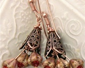 Tango Orange Flower Earrings with Uniique Copper Filagree and  Earwires