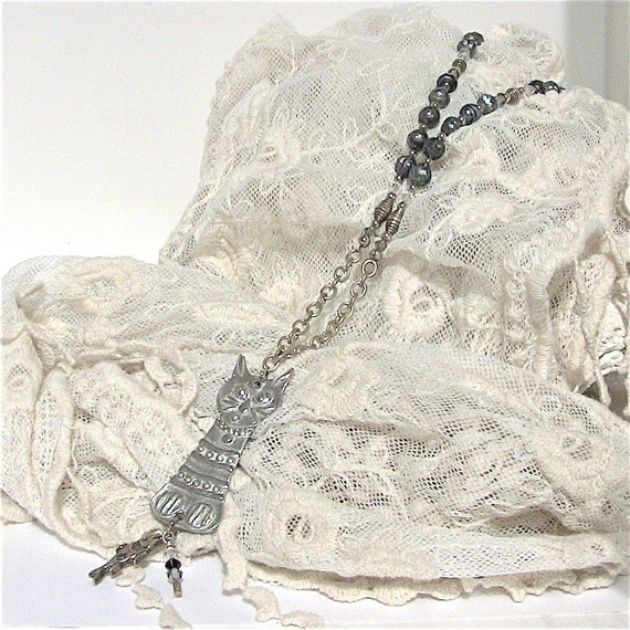 Cat Lover's  Necklace Whimsical  Artisan in Silver and Gray Pearls, Summer Fun