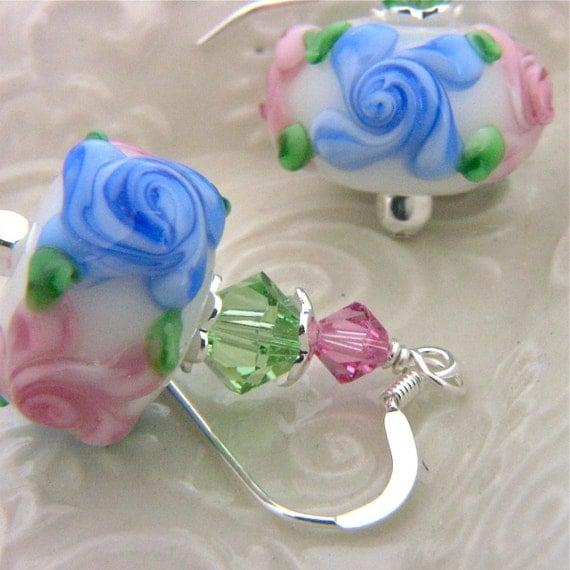 Pink Floral Earrings Handmade Artisan Beads, Flower Earrings