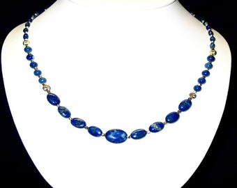 Lapis Lazuli AAA Grade with Sterling Silver Spacers and Sterling Silver Clasp
