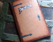 Painted Leather Folder- Muse- Distressed-Upcycled OOAK-Halloween Steampunk