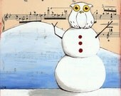 Art Print-Owl and Snowman-Mixed Media-Christmas Decor-
