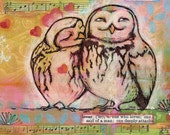 Owl Art Print  Mixed Media Collage Love Birds Pink and Black
