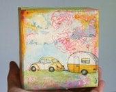 VW Beetle and Vintage Camper Original Mixed Media Painting Orange Pink and Blue