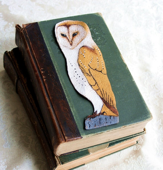 Bookmark Art-Barn Owl-Hand Painted Leather