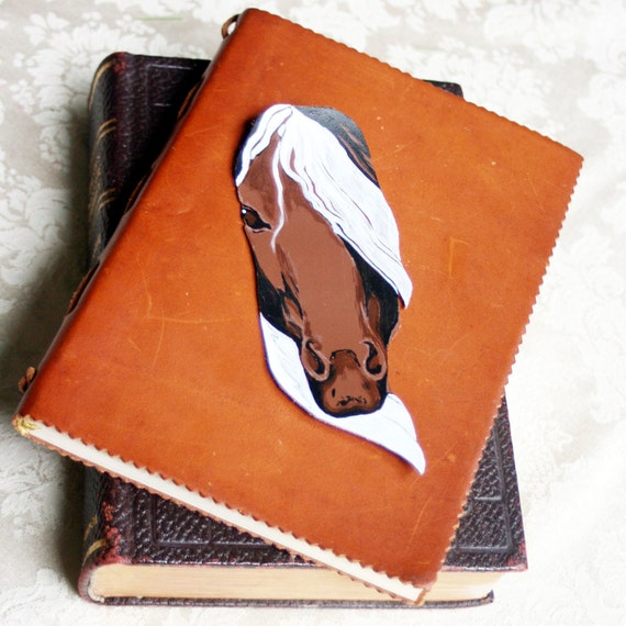 Leather Bookmark Art-Horse Painting-Gypsy Vanner-Equine Art-Back to School
