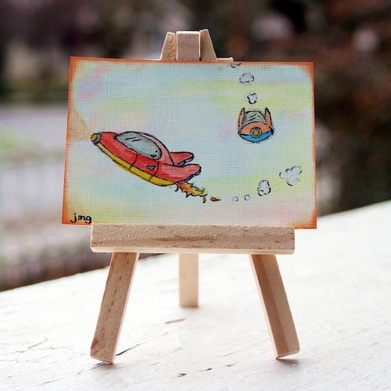 ACEO ATC Original Retro Spaceships Watercolor Illustration