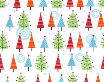Colorful Christmas Trees White by Mind's Eye for Riley Blake Designs - 1 yard