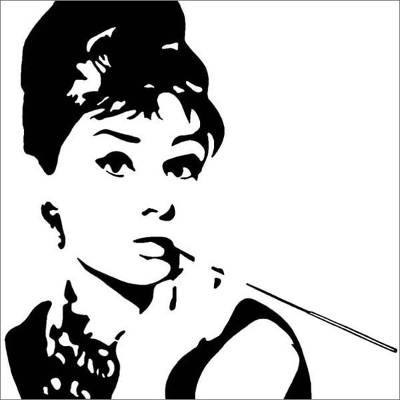 Canvas image of audrey hepburn in black and white 7 x 5 inches