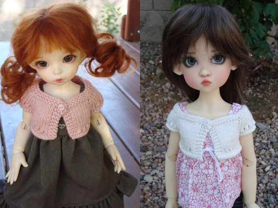 """2 PATTERN Combo to Knit Summer Shrug for 10"""" Lasher, Little Fee, and MSD Lasher and Wiggs"""