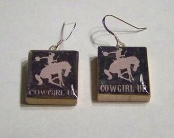 Scrabble Tile  Cowgirl Up Black Earrings