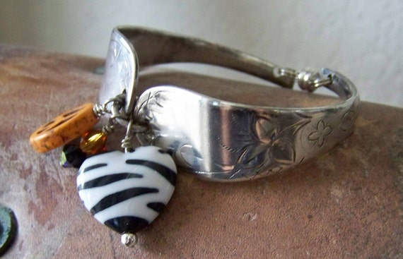 Vintage Silver Plated Spoon Bracelet with Zebra Heart, Gold Peace Sign, and Crystals
