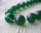 Vintage Chunky Deep Green Lucite Bead Necklace