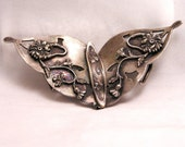 Art Nouveau Belt Buckle. Silver Flowers and Woman's Head. Unknown Maker Mark. (J3)