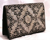 Vintage Metallic Embroidered Clutch Purse. Black Velvet with Silver. 40s to70s. FREE US SHIPPING.