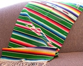 Antique Saltillo Serape Table Runner. High Quality Textile of Wool and Silk. Colorful and Lovely.