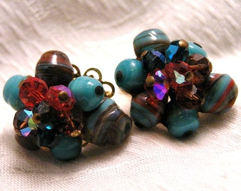 Vintage Blue and Red Art Glass Earrings. (J96)