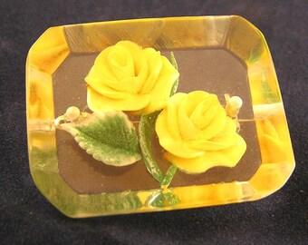 Vintage Reverse Carved Rose Brooch. Jtin