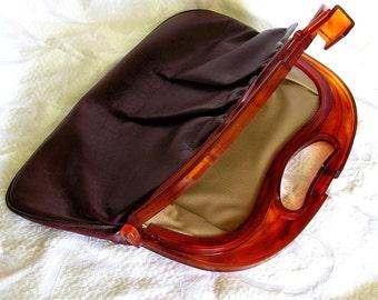 Vintage Handbag with Lucite Handle. Semi Sweet Chocolate with A Splash of Burgandy.