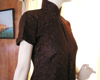 Vintage Dress Asian Cheongsam  from 50s to 60s. Brown Brocade with Blue and Pink Metallic Thread.