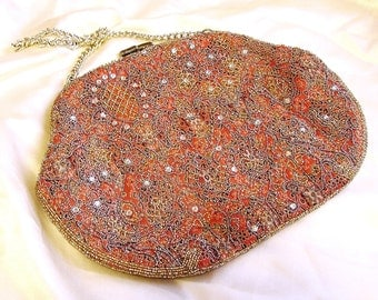 Vintage Kiss Lock Beaded Handbag. Muted Orange Brown with Taupe and Gold Beads.